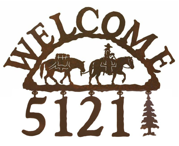 Pack Horse Metal Address Welcome Sign