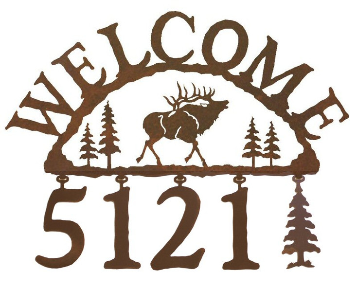 Elk Metal Address Welcome Sign