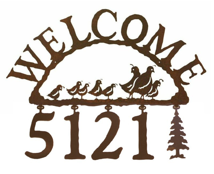 Quail Family Metal Address Welcome Sign