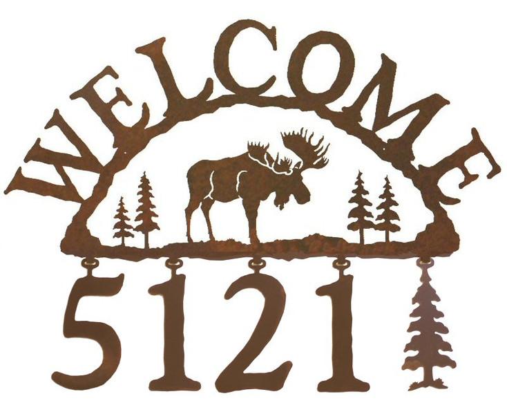 Moose Metal Address Welcome Sign