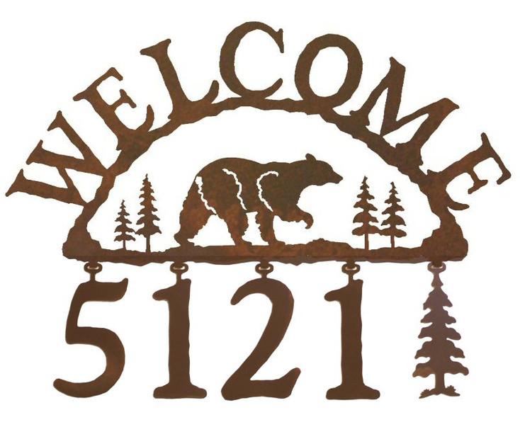 Walking Bear Metal Address Welcome Sign