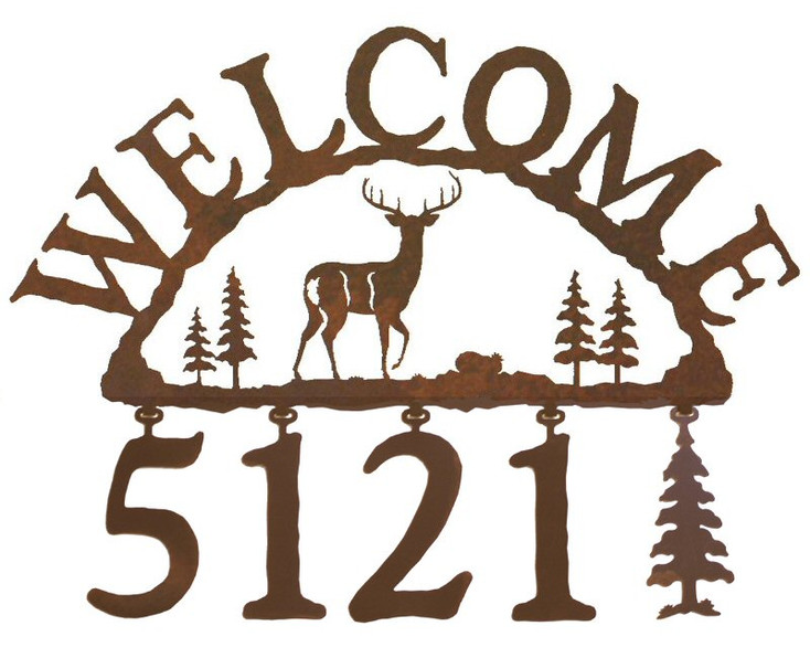 Whitetail Deer Metal Address Welcome Sign