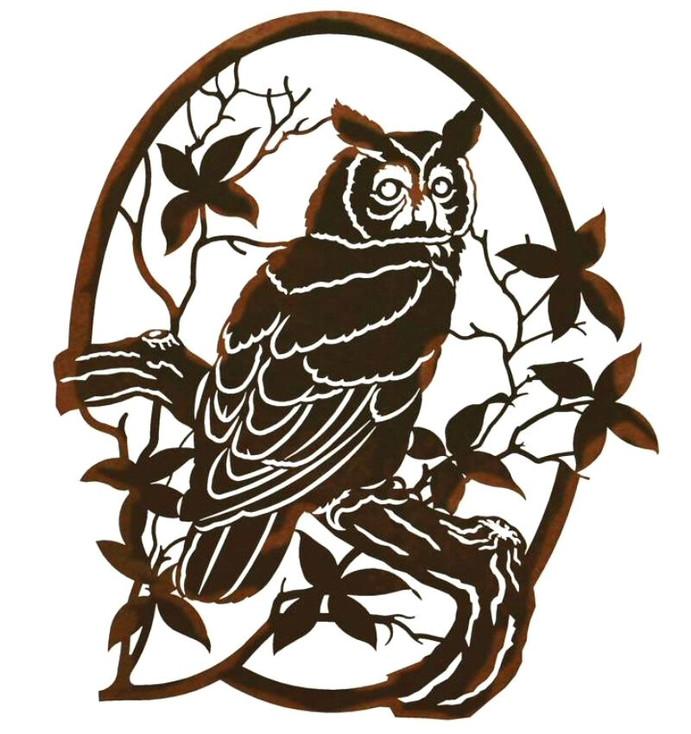 """26"""" Horned Owl Bird Perching on a Branch Metal Wall Art"""