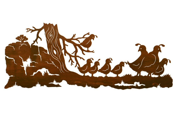 "42"" Quail Bird Family Metal Wall Art"