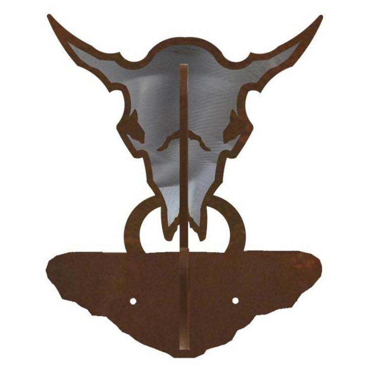Buffalo Skull Burnished Double Metal Wall Hook