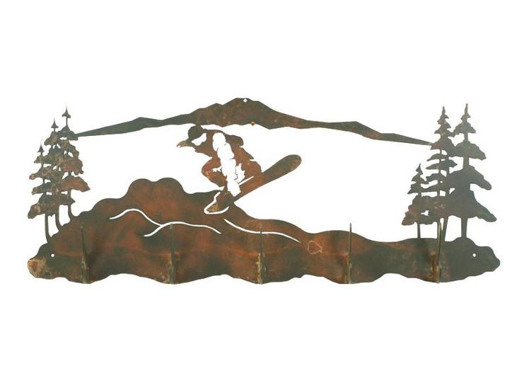 Snowboarding Scene Five Hook Metal Wall Coat Rack