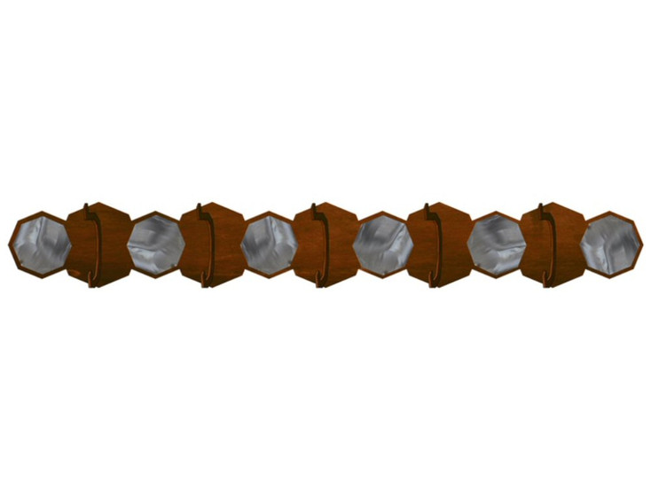 Burnished Hexagon Scenic Five Hook Metal Wall Coat Rack