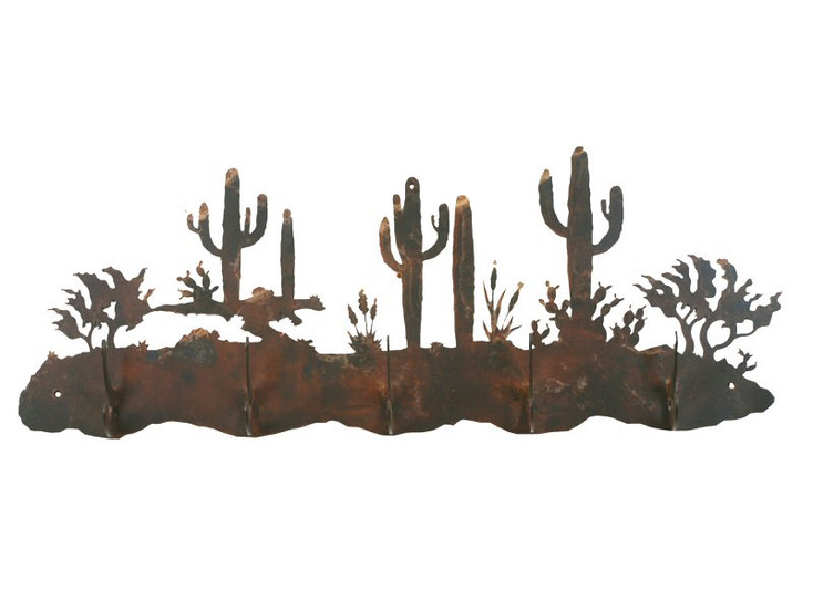 Desert Scene Five Hook Metal Wall Coat Rack