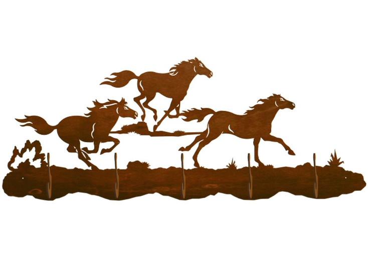 Running Wild Horses Scenic Five Hook Metal Wall Coat Rack