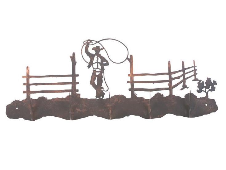 Roping Cowboy Scene Five Hook Metal Wall Coat Rack