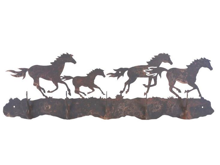 Running Wild Horses Five Hook Metal Wall Coat Rack