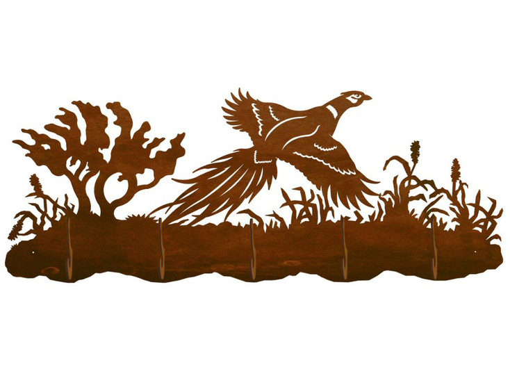 Flying Pheasant Bird Scenic Five Hook Metal Wall Coat Rack