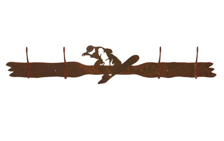 Snowboarder Four Hook Metal Wall Coat Rack