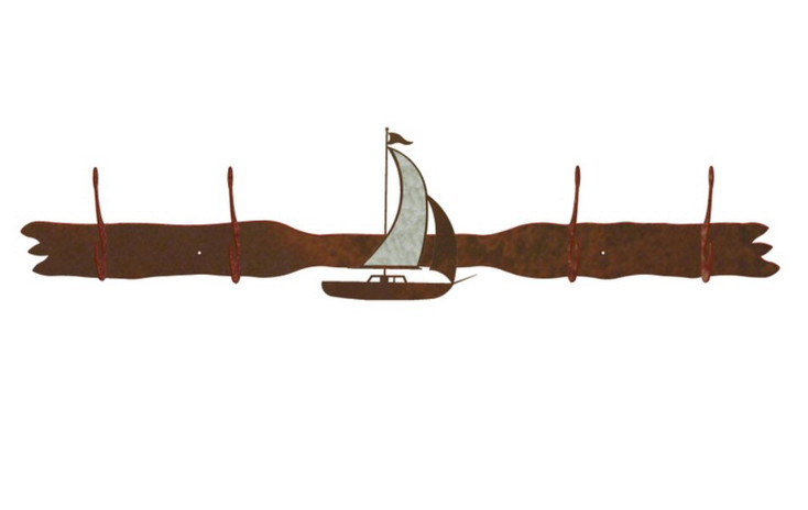 Burnished Sailboat Four Hook Metal Wall Coat Rack