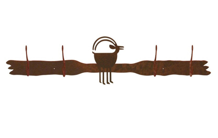 Ram Goat Four Hook Metal Wall Coat Rack