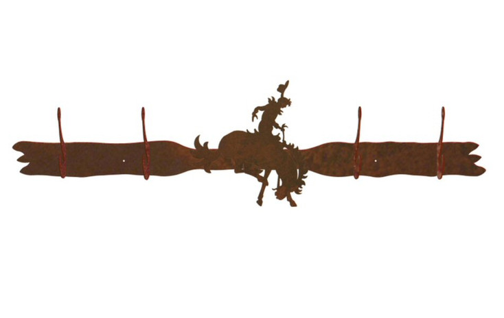 Bucking Bronco Rider Four Hook Metal Wall Coat Rack