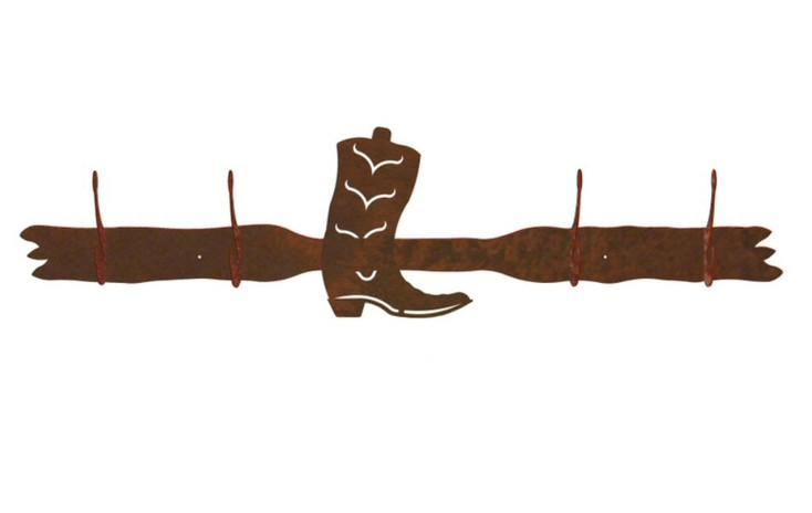 Cowboy Boot Four Hook Metal Wall Coat Rack