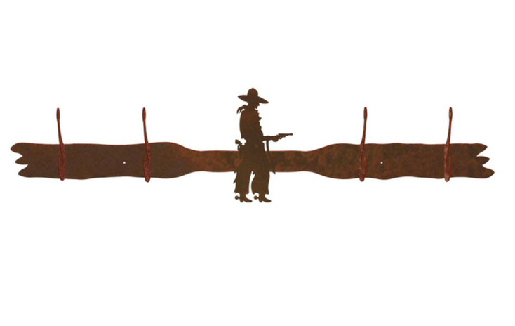 Cowboy with Pistol Four Hook Metal Wall Coat Rack