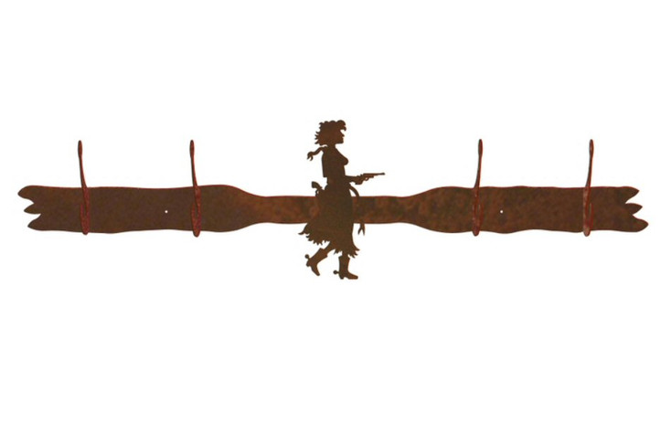 Cowgirl with Pistol Four Hook Metal Wall Coat Rack
