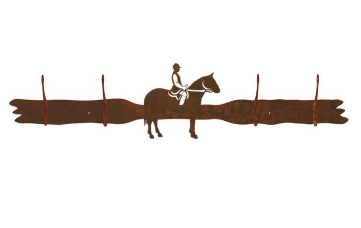 English Horse Rider Four Hook Metal Wall Coat Rack