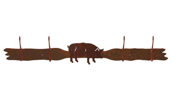 Pig Four Hook Metal Wall Coat Rack