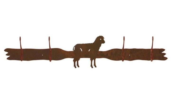 Sheep Four Hook Metal Wall Coat Rack