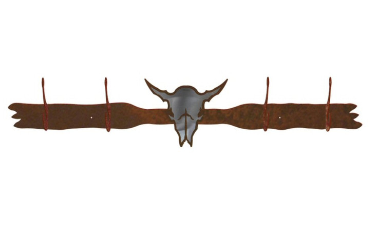 Burnished Buffalo Skull Four Hook Metal Wall Coat Rack