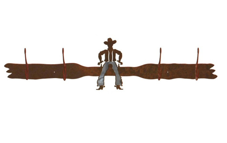 Burnished Cowboy Drawing Pistol Four Hook Metal Wall Coat Rack