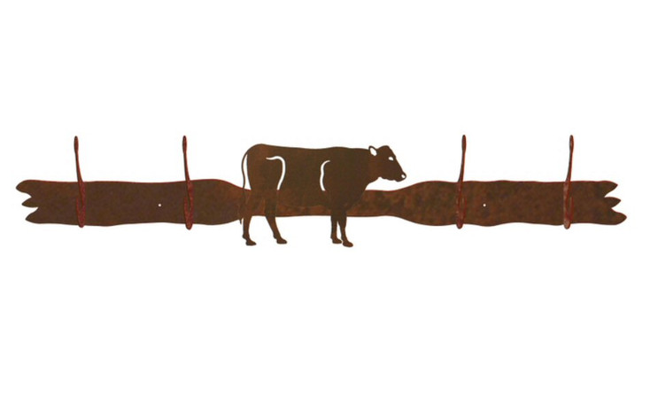 Cow Four Hook Metal Wall Coat Rack