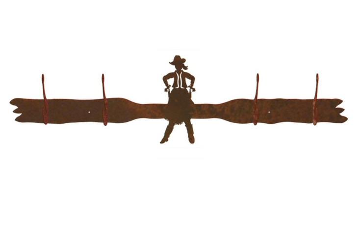 Cowgirl Drawing Pistol Four Hook Metal Wall Coat Rack
