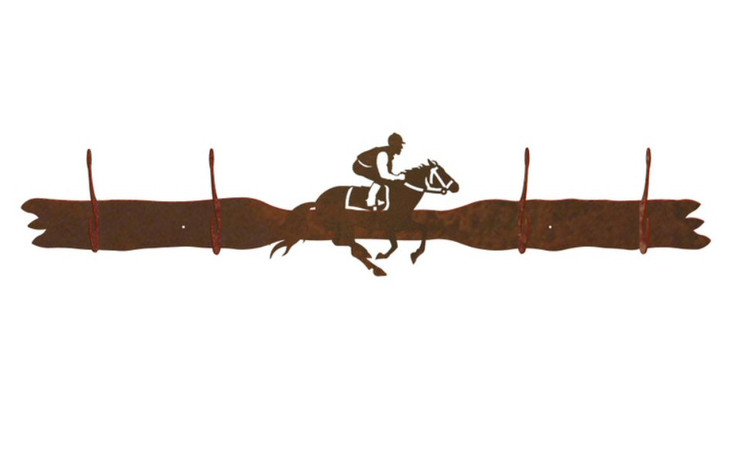 Derby Horse Racer Four Hook Metal Wall Coat Rack