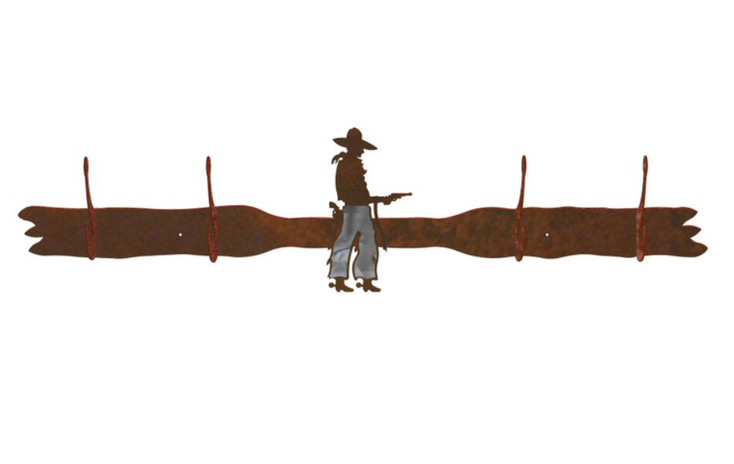 Burnished Cowboy with Pistol Four Hook Metal Wall Coat Rack