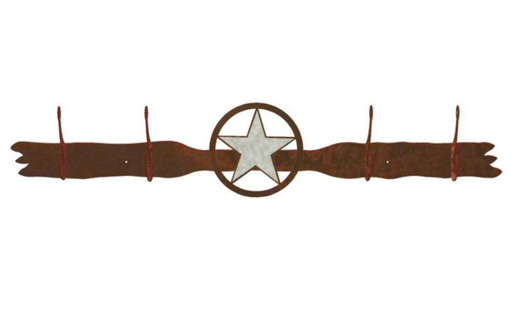 Burnished Texas Star Four Hook Metal Wall Coat Rack