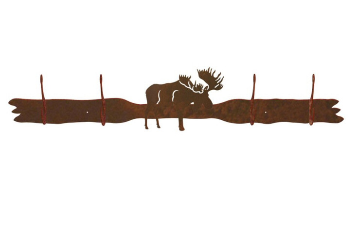 Moose Four Hook Metal Wall Coat Rack