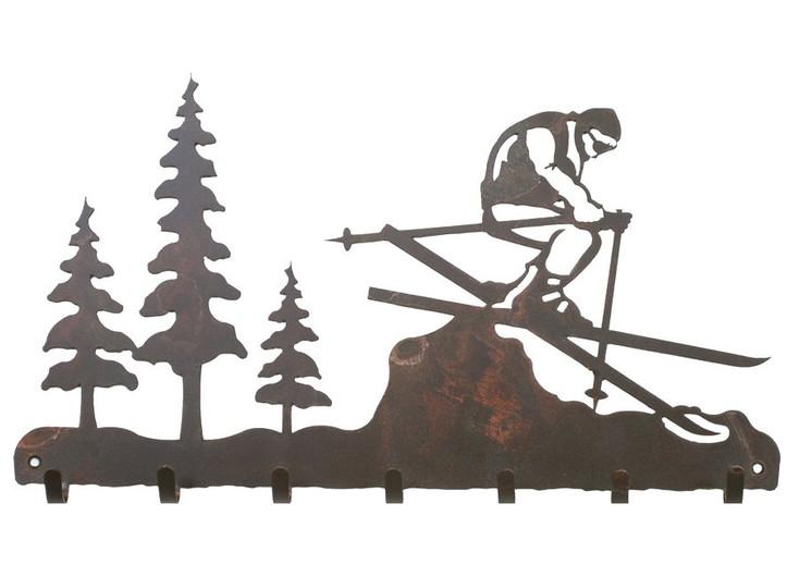 Skier Metal Wall Key Rack
