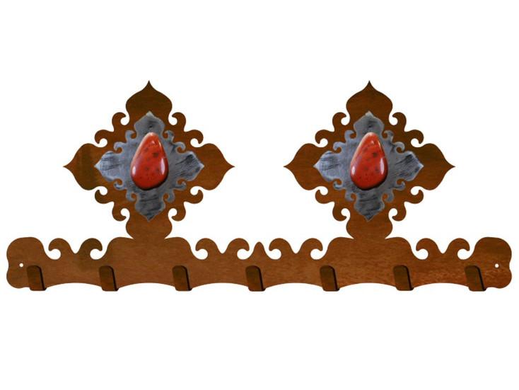 Red Jasper Stone Metal Wall Key Rack