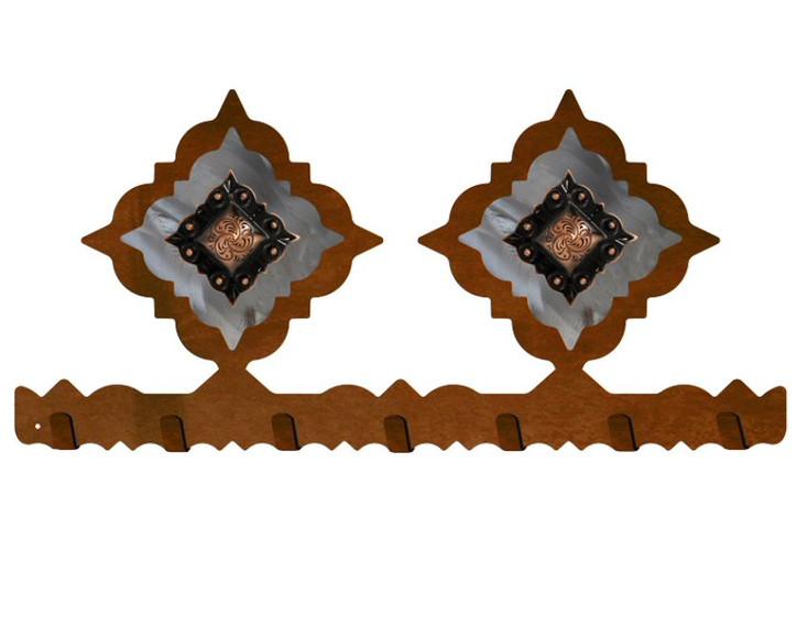 Copper Diamond Concho Metal Wall Key Rack