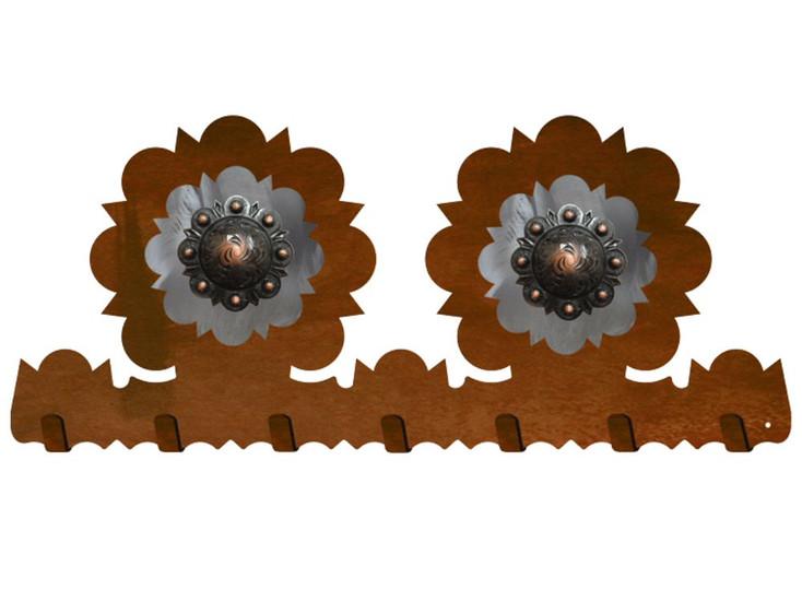 Copper Round Concho Metal Wall Key Rack
