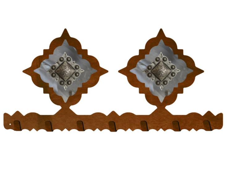 Silver Diamond Concho Metal Wall Key Rack