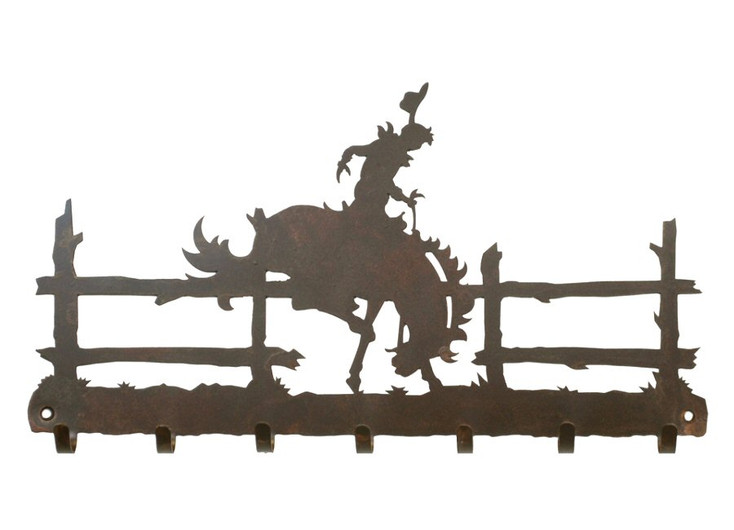 Bucking Bronco Rider Metal Wall Key Rack