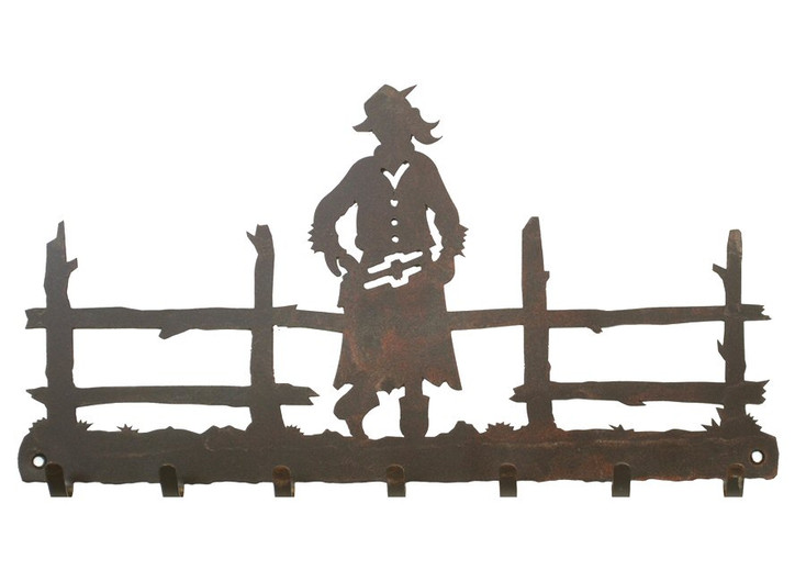 Cowgirl Metal Wall Key Rack