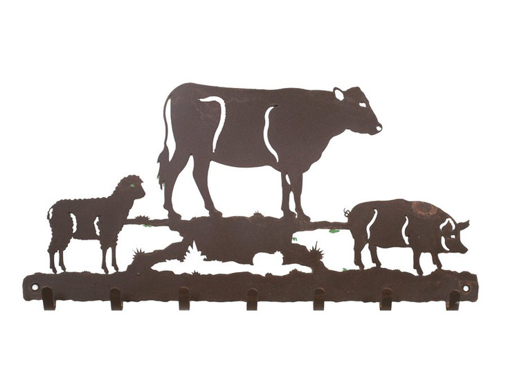 Farm Animals Metal Wall Key Rack