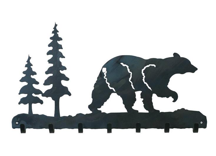 Walking Bear Metal Wall Key Rack