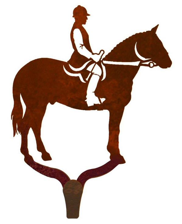 English Horse Rider Large Single Metal Wall Hook