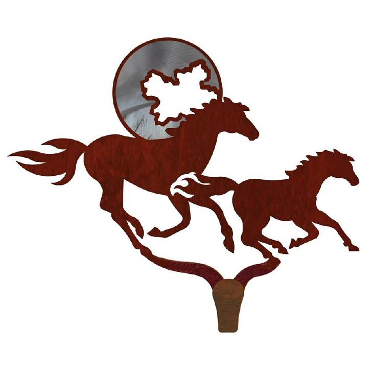 Running Horses Burnished Large Single Metal Wall Hook