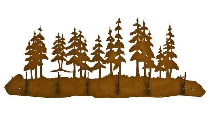 Pine Tree Forest Scene Six Hook Metal Wall Coat Rack
