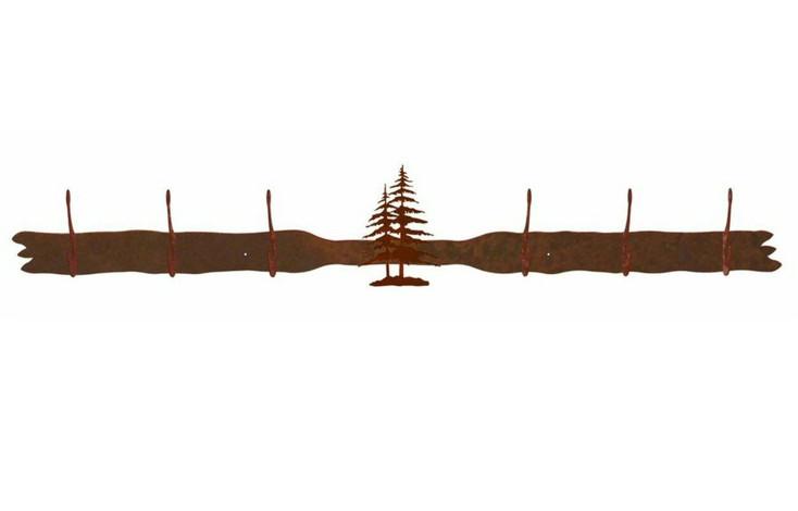 Double Pine Trees Six Hook Metal Wall Coat Rack