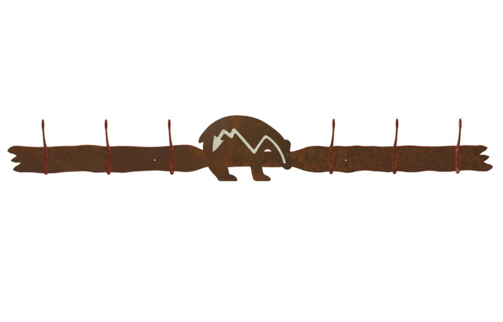 Burnished Fetish Bear Six Hook Metal Wall Coat Rack