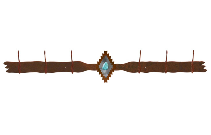 Burnished Desert Diamond with Turquoise Stone Six Hook Metal Coat Rack
