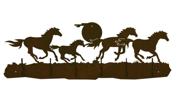 Running Wild Horses Scene Six Hook Metal Wall Coat Rack